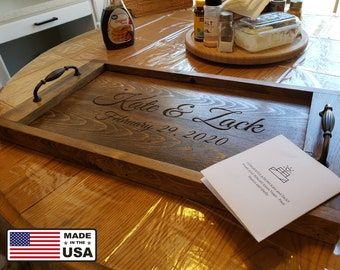 Serving Tray, Personalized Wood Serving Tray,  Serving Trays with Handles, Farm Decor Tray, Wood Serving Tray, Rustic Wood Serving Tray