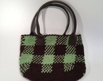Small Brown and green patent leather bag handmade crochet