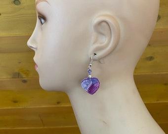 """Purple earrings """"little hearts"""""""