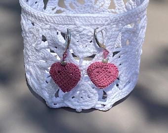 """Plum earrings """"little hearts"""""""