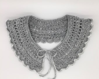 Collar lace hand-made grey in the hook