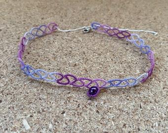 Purple lace necklace