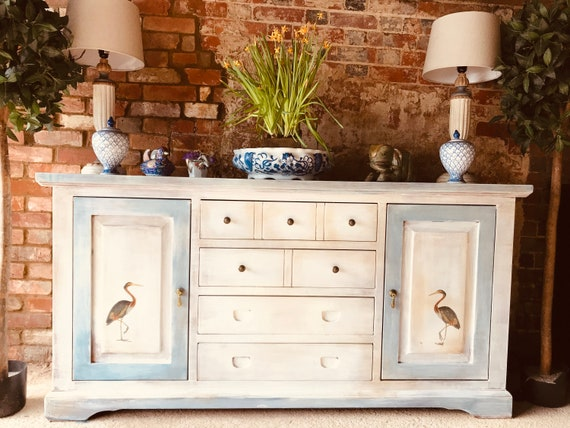 SOLD: Antique white sideboard decorated with vintage bird prints