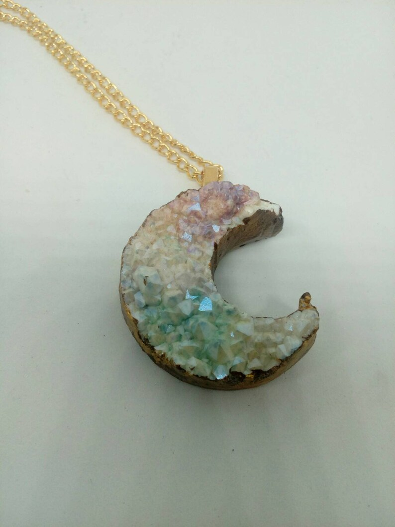 Druzy Moon Gold Tone Necklace