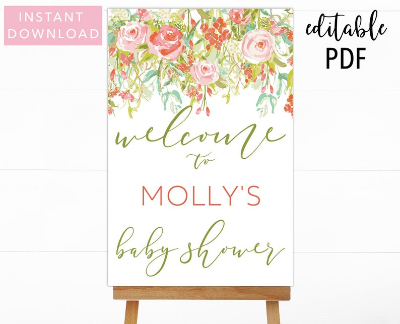 Floral Baby Shower Welcome Sign Baby Shower Welcome Sign Etsy