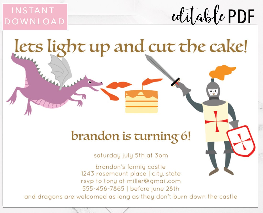 Dragon And Knight Birthday Invitation Template Boys INSTANT DOWNLOAD Editable Text Printable