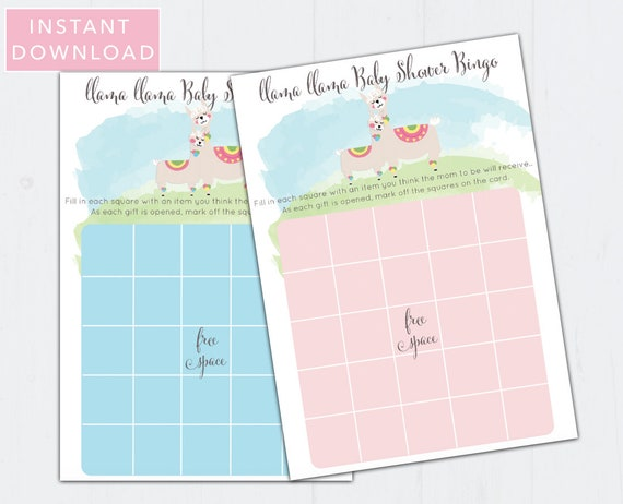 INSTANT DOWNLOAD and Printable Llama Baby Shower Bingo Cards