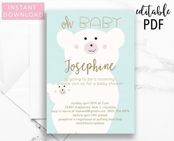 Oh Baby Bear Blue Baby Shower Invitation Template Boy Baby Etsy