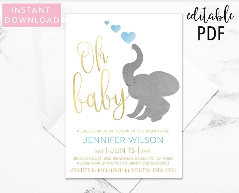 Elephant Baby Shower Invitation Baby Shower Invitation Boy Etsy