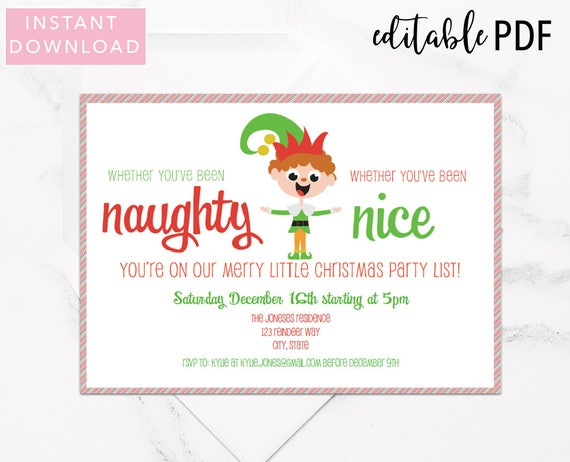 Editable Christmas Party Invitation Template Naughty Or Nice Etsy
