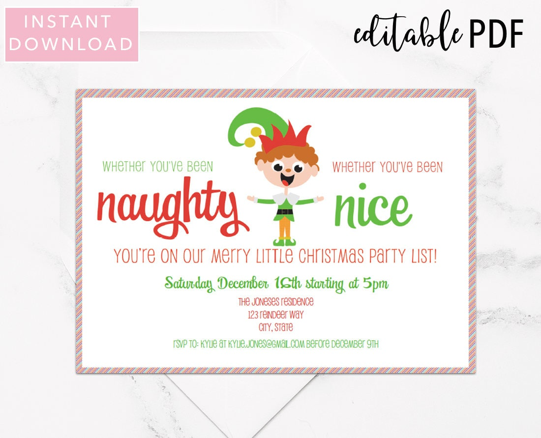 Editable Christmas Party Invitation Template Naughty or Nice | Etsy