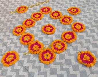 Beautiful Artificial Flower Rangoli Floral Handmade Centerpiece With Express Shipping Antique Marigold Flower Decoration Ideas Unique Items