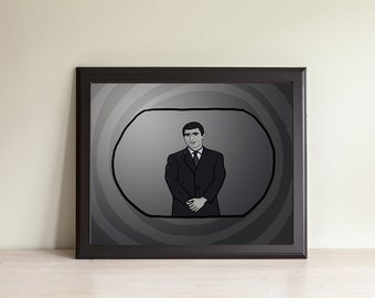 signed original charcoal drawing of photograph Rod Serling