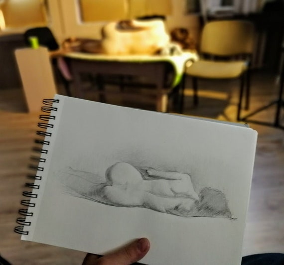 Custom Nude Figure Drawing to Order From Your Personal Photos//Pics Original Art