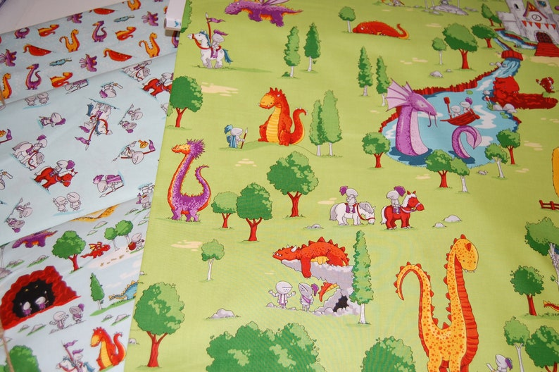 Riley Blake Dragons by Ben Byrd C7663 White Knights Toss Cotton Fabric