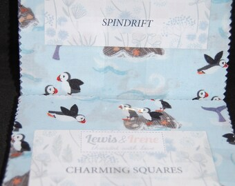 """Lewis & Irene 'Spindrift' Charming Squares/Charm Pack 5"""" Pre-Cut Squares x 42 100% Cotton Puffins/Whales/Waves/Dolphins"""