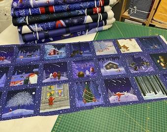 Lewis & Irene Keep Believing Tomten and Friends Christmas 21 Plate Mini Block Panel 100% Cotton Fox Snow Hare Tonttu