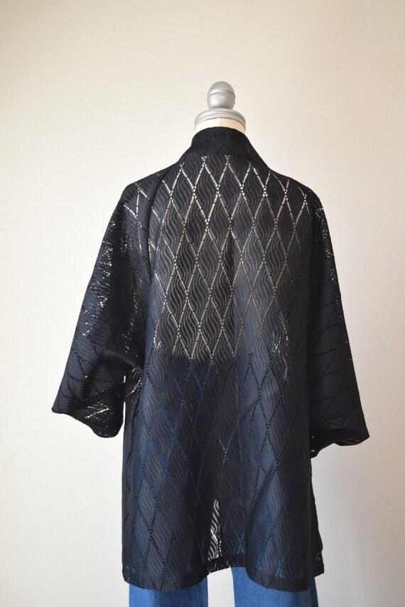 Japanese Kimono robe black kimono robe kimono Jac… - image 5