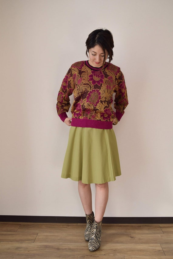 Pistachio green circular skirt japanese vintage sk