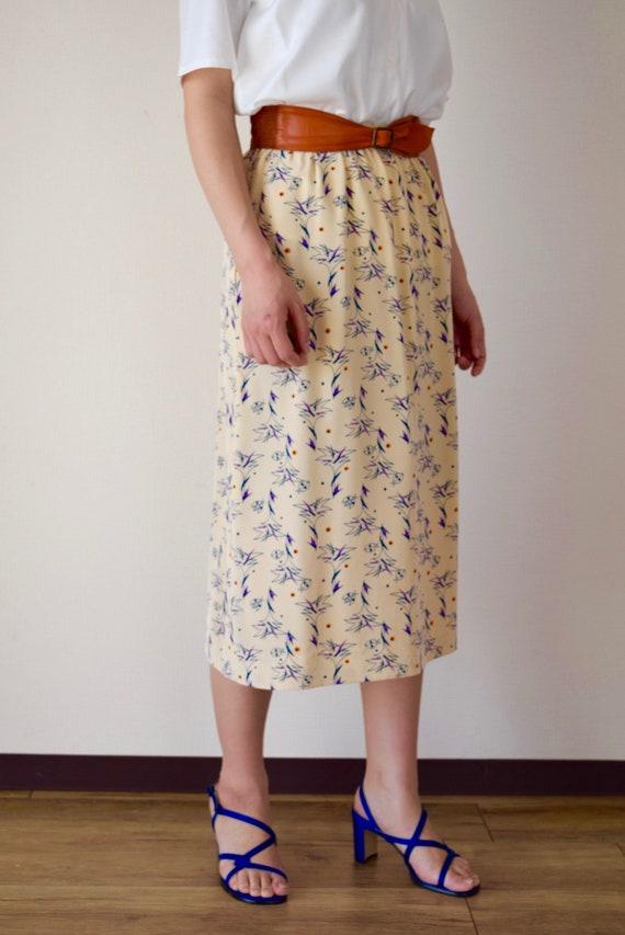 Novelty print skirt beige skirt xs Japanese vintag