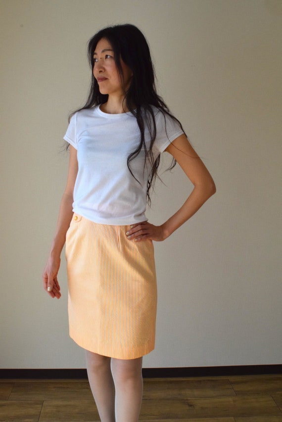 90s orange stripe pencil skirt bodi con skirt xs