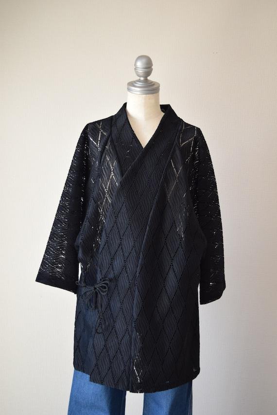 Japanese Kimono robe black kimono robe kimono Jac… - image 8
