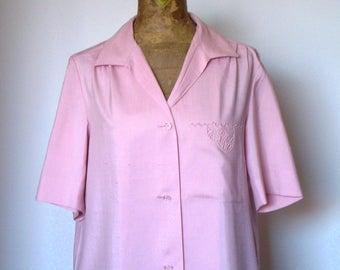 Vintage silk shirt; shantung shirt; short sleeves shirt; pink shirt; elegant blouse; shantung blouse