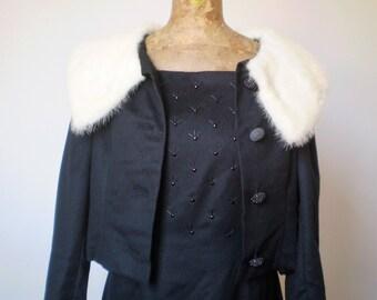 Vintage two-piece dress; 50s wool black dress with fur neck jacket. Two-piece black dress with mink fur collar.
