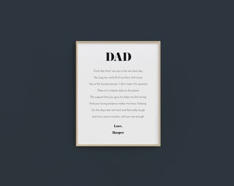 Personalized Dad Gift, Dad poem, Gift from Child for Dad, Gift from Children for dad, christmas Dad gift, Father's Day gift, 8x10