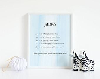 James, Name Art, Nursery Decor, Baby Shower, Baby Boy Gift, Poem, Birthday, 8x10, Personalize, Acrostic, Printable, Birthday, Customize