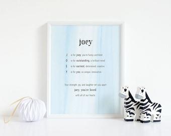 Joey, Name Art, Nursery Decor, Baby Shower, Baby Boy Gift, Poem, Birthday, 8x10, Personalize, Acrostic, Printable, Birthday, Customize