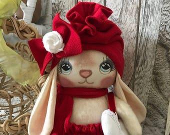 Adorable Primitive Valentine Baby Bunny Rabbit OOAK Art Doll Safe for All Ages Tattered Magnolia