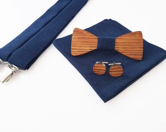 0b4287329c993 Wooden bow tie- wooden bow tie and cufflinks- bow tie for weddings- wedding  accessories- suspenders- wooden cufflinks- pocket square