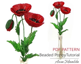 Poppy pattern etsy beaded poppy tutorial poppy flower pattern beaded flower patterns coloured poppy bouquets flowers for home decor gift mightylinksfo
