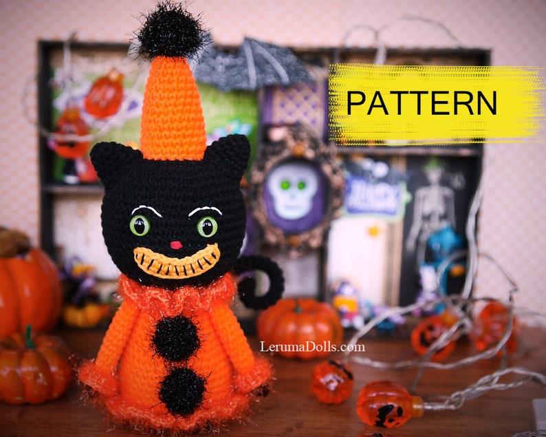 Pumpkin crochet pattern Vintage Halloween amigurumi black cat PDF Halloween crochet patterns set Ghost crochet
