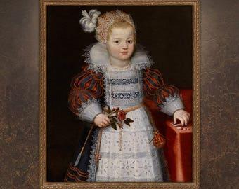 Custom Baby Portrait, Custom Child Painting, Victorian Girl Portrait, portrait from photo, free shipping!