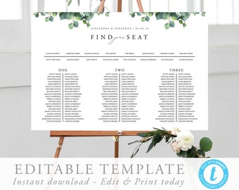 wedding seating chart template eucalyptus seating chart etsy
