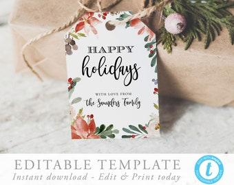 christmas gift tag template holiday tag christmas tag etsy