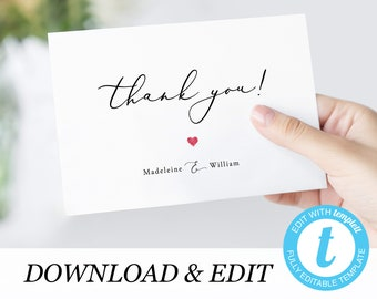 thank you card template with photo templett simple thank you etsy