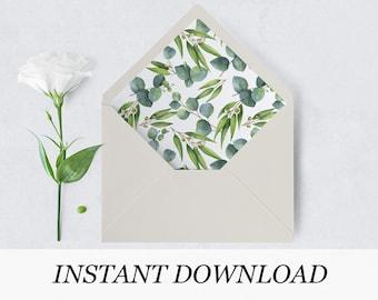 Envelope Liner Template | Greenery Envelope Liner Template Eucalyptus Envelope Liner Etsy