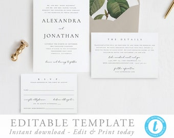 wedding invitations printable etsy