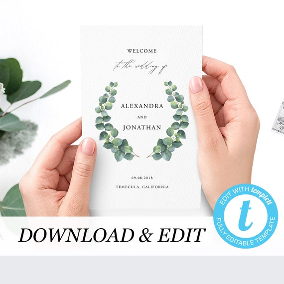 wedding ceremony booklet template eucalyptus editable order of etsy