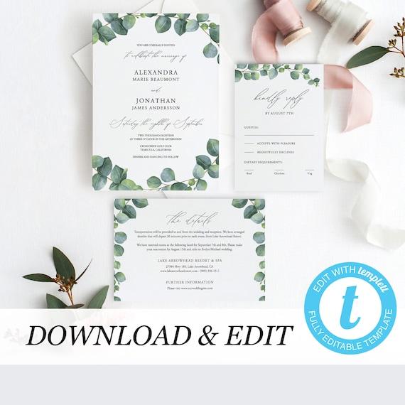 greenery wedding invitation template eucalyptus printable. Black Bedroom Furniture Sets. Home Design Ideas