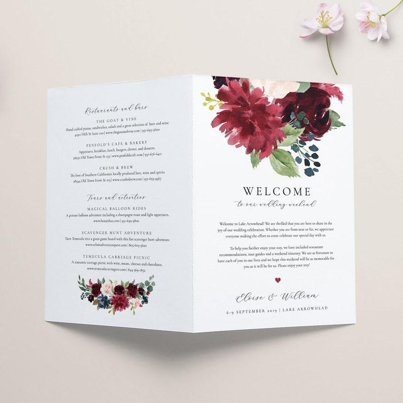 Floral Wedding Weekend Itinerary Template Weekend Timeline ...