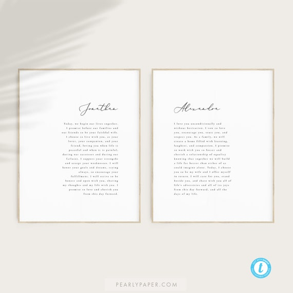 Printable Wedding Vows Template Download Simple Vows Anniversary Vows  Keepsakes Wedding Vows Gift #9