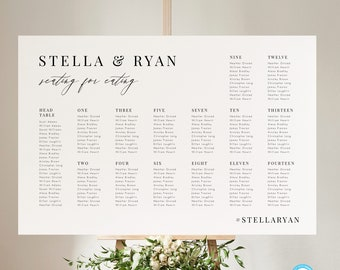 Printable Seating chart template Download Minimalist Seating By Table Printable Seating Plan Editable Sign Templett 24