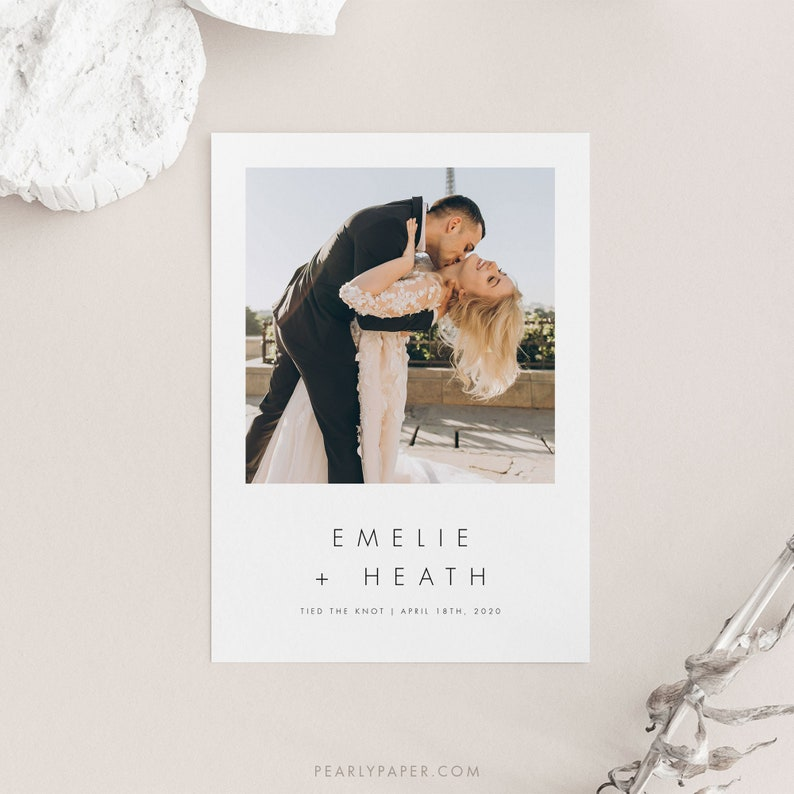 Minimalist Elopement Announcement Template Download Printable We got married Card We tied the knot #32