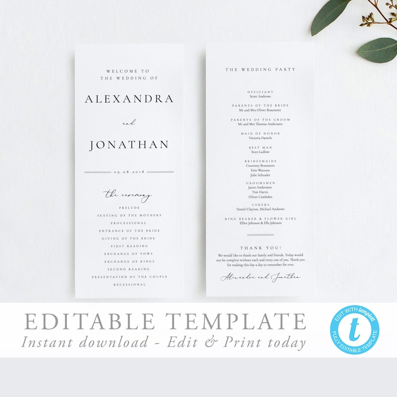 Wedding Ceremony Program.Wedding Ceremony Program Simple Program Template Elegant Wedding Order Of Service Editable Wedding Program Templett 10