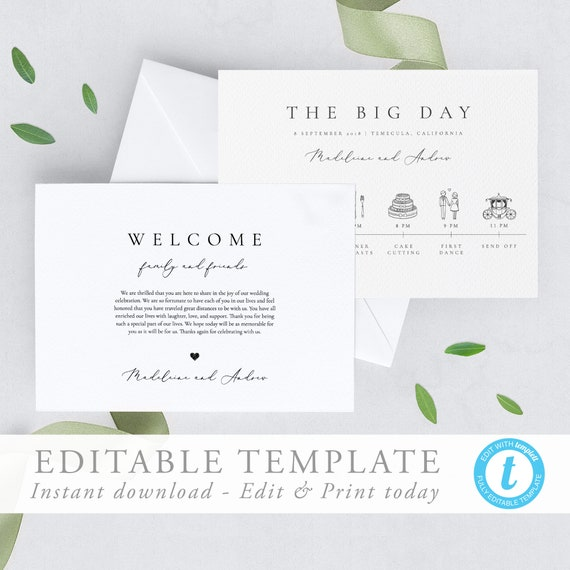 Simple Elegant Wedding Timeline Template Wedding day Itinerary Welcome Bag  Note Wedding schedule Printable Order of Events Wedding Icon 10