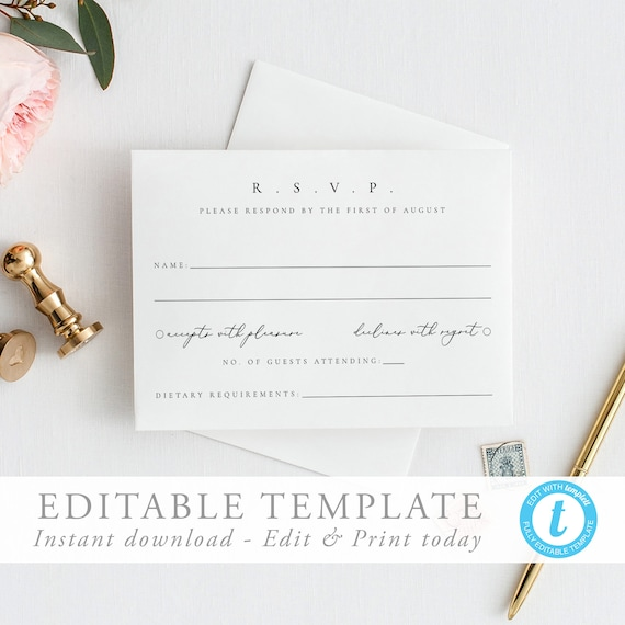 Ja Sealed Wedding Engagement Party Acceptance Greeting Reply RSVP Card Simple